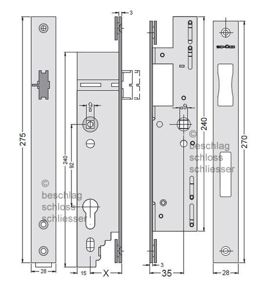 sch co 241 545 motorschloss mit antipanikfunktion e als garnitur. Black Bedroom Furniture Sets. Home Design Ideas
