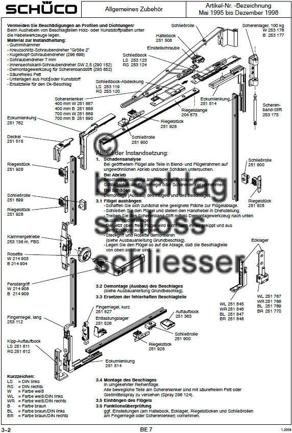 Ersatzteile kunststofffenster sch co baujahr 1995 bis 1998 for Kunststofffenster shop