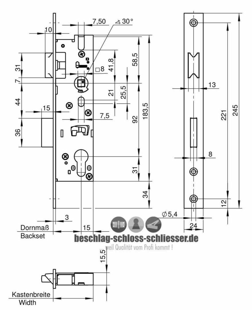 wilka 1433 einsteckschloss flach stulp dorn 30 mm. Black Bedroom Furniture Sets. Home Design Ideas